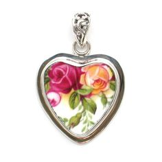 Broken China Jewelry Old Country Roses Double Red Pink Yellow Rose Sterling Heart Pendant