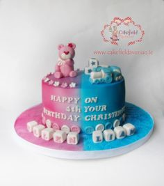 Joint cake for gorgeous Ellen who has turned 4 and cute Liam who celebrated his christening on Sunday! Half Birthday Cakes, Birthday Cupcakes, Cake Topper Tutorial, Cake Toppers, Birthday Cake Decorating, Cookie Decorating, Beautiful Cakes, Amazing Cakes, Twins Cake