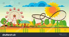 Vector amusement park lansdcape, abstract flat vector art. Amusement Park, Vector Art, Fair Grounds, Abstract, Image