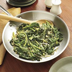 Sautéed Greens   Ready in just 26 minutes, Sauteed Greens are packed with fresh flavor from chopped ginger and spicy serrano peppers. (And without all the pork usually found in classic collards, it's a lot better for you!) #Thanksgiving