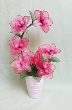 orchidhandmade orchidunique orchidnylon flowerorchid nylon