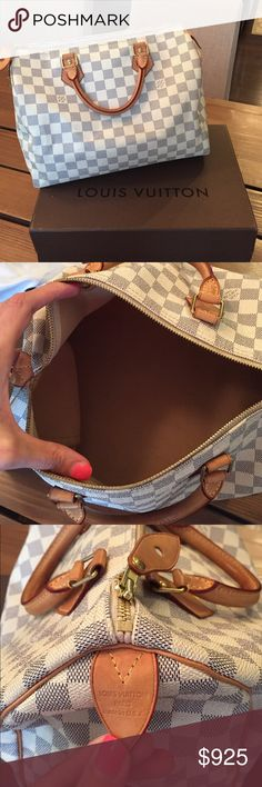 Louis Vuitton Speedy 30 Damier Azur 100% authentic Louis Vuitton Speedy 30 handbag in damier azur. In great condition. Comes with lock and key. Some light wear and tear and a few light stains on inside but overall in great condition. No rips or tears. NO trades. Also listed on Ⓜ️erc. Louis Vuitton Bags Satchels