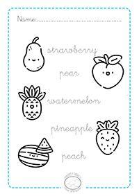 Fichas De Frutas En Inglés Para Colorear Aprender Inglés Fruta
