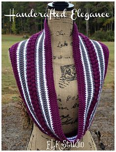Here is a fun loving scarf to crochet! The Handcrafted Elegance has just enough texture to make the colors pop! It would be great any school colors or even Christmas colors too! Don't forget to look for the matching beanie! It's an accessories galore party!