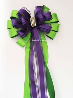 """10/"""" Wide Easter Bows Ribbons Gold Green Purple Wired Wreath Birthday Bridal Gift"""
