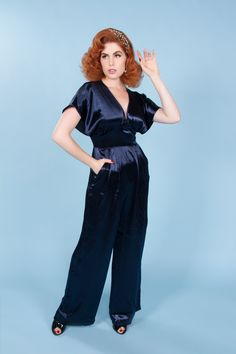 ceef9417e61 Batwing Jumpsuit in Navy