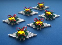 Set von 6 quilling Ornamente/Quilling Christmas
