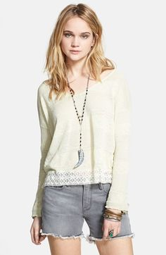 pebble dash embroidered trim pullover / free people