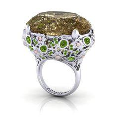Rutile Quartz Magnolia Cocktail Ring In Gold From Award Winning Irish Jewellery Designer. Diamond Jewelry, Jewelry Rings, Fine Jewelry, Jewellery, Jewelry Box, Magnolia Jewelry, Golden Rutilated Quartz, Peridot Stone, Irish Jewelry