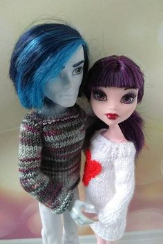 Matching clothes for  Monster High dolls.  Hand-knitted MH boy's sweater and dress for girl  #monsterhigh #monsterhighdoll #monsterhighclothes #mhdolls #monsterhighooak