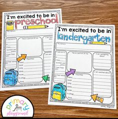 First Day of School All About Me Preschool and Kindergarten - Primary Playground