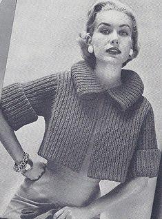 Vintage Knitting PATTERN to make Bulky Box Shorty Jacket Car Coat Sweater BulkyS