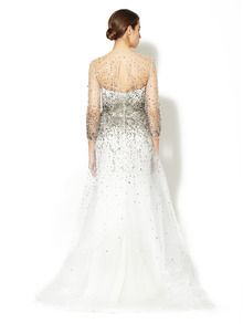 Silk Tulle Beaded Sheer Neck Gown by Marchesa Couture at Gilt