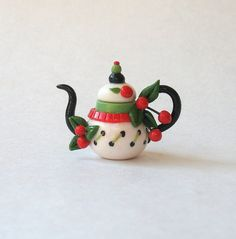 Miniature ME Cherry Teapot OOAK by C. Rohal via Etsy