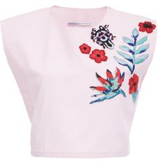 Christina Economou Candy Embroidered Crop Top (6,125 MXN) ❤ liked on Polyvore featuring tops, pink, embroidered top, embroidered crop top, embroidery top, pink crop top and cap sleeve top
