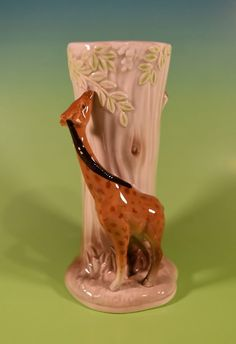 Vintage Otagiri Giraffe Ceramic Vase Tree Trunk Japan 1981 EUC