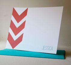 Chevron Stripe Personalized Stationery Flat Note Cards - Set of 12. $20.00, via Etsy.