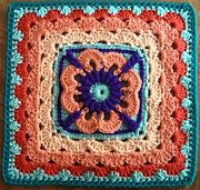 """Jul bamcal13 6"""" see companion square to enlarge Ravelry: april dawn pattern by Bonnie Pierce"""