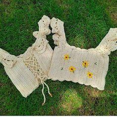 Crochet Crop Top, Diy Crochet, Crochet Bikini, Crochet Stitches, Crochet Patterns, Crop Top Pattern, Bedroom Organization Diy, Crochet Summer Tops, Ideias Diy