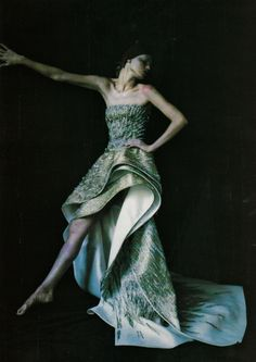 """Retro Avvenitistica Couture""  Angela Lindvall by Paolo Roversi for Vogue Italia September 1999"