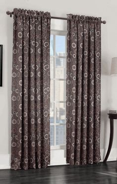 The Sun Zero Galvan Rod Pocket Window Curtain Panel elegantly combines style and function. With a retro-modern circles pattern, the room darkening panel also reduces light and noise entering your home, while decreasing energy loss by up to Room, Brown Curtains, Panel Curtains, Galaxy Room, Drapes Curtains, Energy Efficient Curtains, Curtains, Room Darkening Window Treatments, Window Treatments