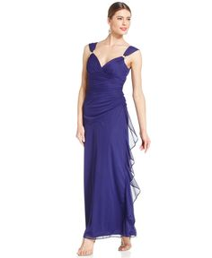 Betsy & Adam Sleeveless Hardware Draped Gown http://picvpic.com/women-dresses-cocktail-party-dresses/betsy-adam-sleeveless-hardware-draped-gown#iris