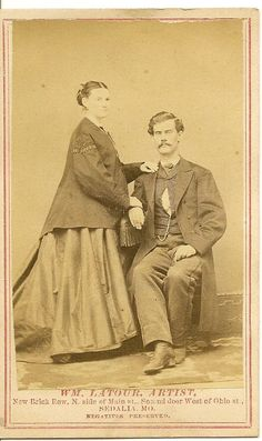 "CDV of Husband Very Pregnant Mother to Be ""Taken 1 week before Willie was born."" 