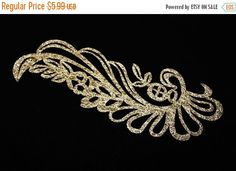 SALE Gold Glitter Iron On Patch Applique For Fast Adhesive on Fabrics