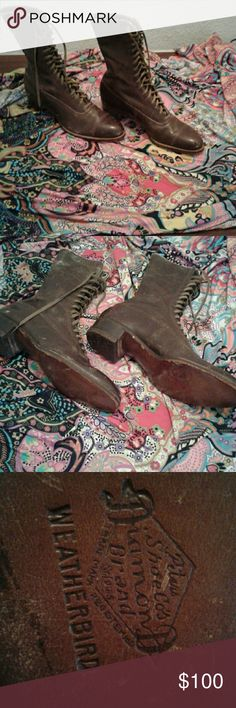 1890- 1900 shoes  wearable Vintage leather  wood steel heels  1900 look up eBay easy  Narrow antiques weather bird by peters show co Shoes Lace Up Boots
