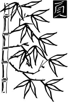 Simple Palm Tree Drawing   Bamboo 3 clip art