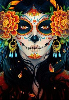 """La Catrina illustration by Maria Dimova from """"How to Create a Vibrant Day of the Dead Portrait in Adobe Illustrator"""" on envatotuts+ Mexican Skulls, Mexican Art, Maquillage Halloween, Halloween Makeup, Halloween Carnival, Halloween Design, Halloween Costumes, Halloween Halloween, Vintage Halloween"""