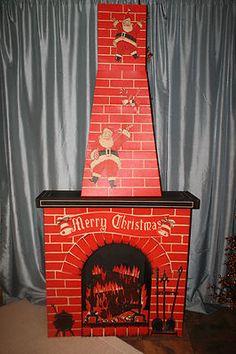 Vintage Christmas Ephemera ~ Toymaster Cardboard Electric Fireplace w/ Chimney * Circa, 1960's