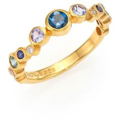 GURHAN Pointelle Diamond, Multi-Stone & 24K Yellow Gold Ring ($2,500) ❤ liked on Polyvore featuring jewelry, rings, apparel & accessories, yellow gold rings, tri color gold ring, diamond band ring, diamond jewelry and multi color diamond ring