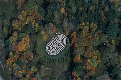 Michael Ayrton, Arkville Maze , Delaware, New York, 1968-1970  The white tops of this maze stand out against the green surround. Unusual and striking. Consider this was made in an age before google maps...