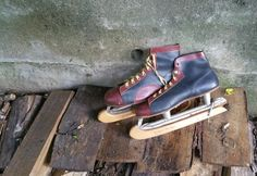 Men's Vintage Pembroke Ice Skates Hockey Skates Sheffield Steel Blades Wood…