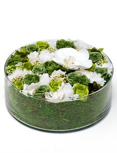 Kelly Green - Preserved Flower Arrangement in green color palette ~ Nicolai Bergmann - Phalaenopsis orchids and dainty rice flower, roses and hydrangea