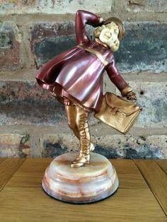 Demetre Chiparus Art Deco 1925 The School Girl Chryselephantine Bronze Sculpture