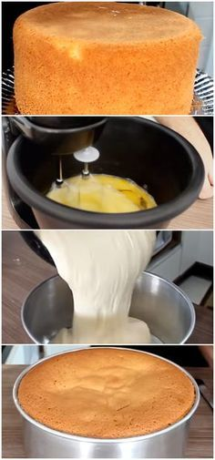Professional Sponge Cake - Easy and Cheap- Pão de Ló Profissional com 3 Ingredientes – Fácil e Barato Easy sponge cake of your life, prepare and cover and fill your preference! Sponge Cake Easy, Portuguese Recipes, Homemade Cakes, Coffee Cake, 3 Ingredients, Bakery, Good Food, Food And Drink, Cooking