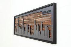 City skyline made from reclaimed barnwood and natural black image 2 Wooden Wall Art, Wooden Walls, Metal Walls, Wood And Metal, Metal Art, Wall Wood, Reclaimed Barn Wood, Large Art, Wall Sculptures