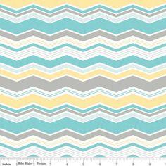 Baby Bedding Fitted Crib Sheet  Aqua/ Turquoise Yellow Gray and White Chevron Zig Zag