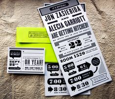 """Love these simple black and white flyer invites — esp. the """"it's official"""" (like FINALLY!)"""