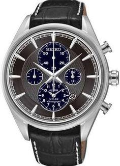 7d017304abde Seiko Solar Chronograph Grey Dial Black Leather Mens Watch SSC211P2 Uñas  Azules