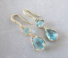 Aquamarine Teardrop Earrings Blue