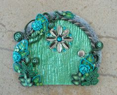 Fairy/Pixie Portal: Sea Green Door with Silver by MiniWhimsies