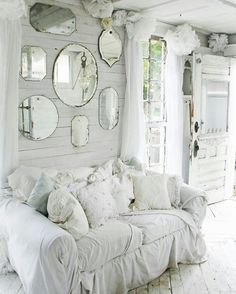 Great look with the mirrors surrounded by shabby chic! (Furniture Designs Shabby Chic)