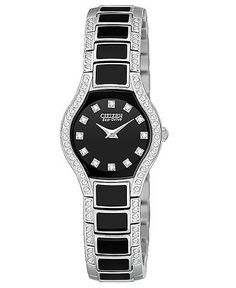 Citizen Watch, Women's Normandie Stainless Steel and Black Resin Bracelet 22mm EW9870-56E  Web ID: 547218