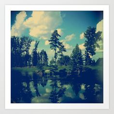 Yesterday Evening at the Lake Art Print by Olivia Joy StClaire - $19.00 nature, landscape, trees, reflection, home decor