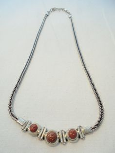 Vintage Sterling Silver Signed 925 Necklace GLASS by KathiJanes