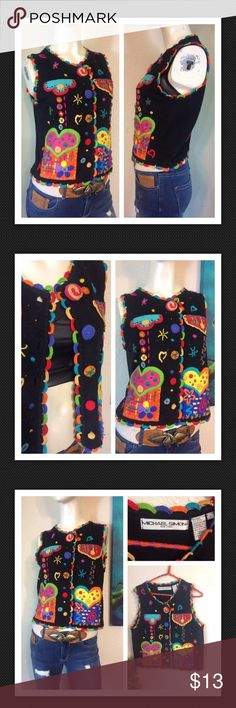 """Vtg Knit Appliqué Crochet Hearts Vest Hippie Nerdy Such an interesting & unique sweater vest w/many cute embellishments!  Estate find in nice pre owned condition - very vibrant & colorful!  Marked size 1 Approx measurements laid flat-(double where necessary) PLEASE CHECK MEASUREMENTS TO ENSURE FIT! Shoulder to shoulder: 13"""" Underarm to underarm: 18"""" Waist: 18"""" Shoulder to hem: 20.5"""" Vintage Tops"""
