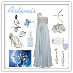 A fashion look from September 2012 featuring Marchesa gowns, Dune sandals en Blue Nile rings. Browse and shop related looks.